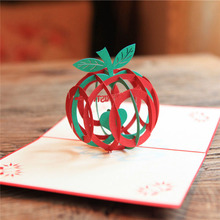 10pcs Green 3D Christmas Apple Greeting Cards 3D laser Cut Pop Up Paper Handmade Postcards Xmas Party Gifts Supplies Souvenirs