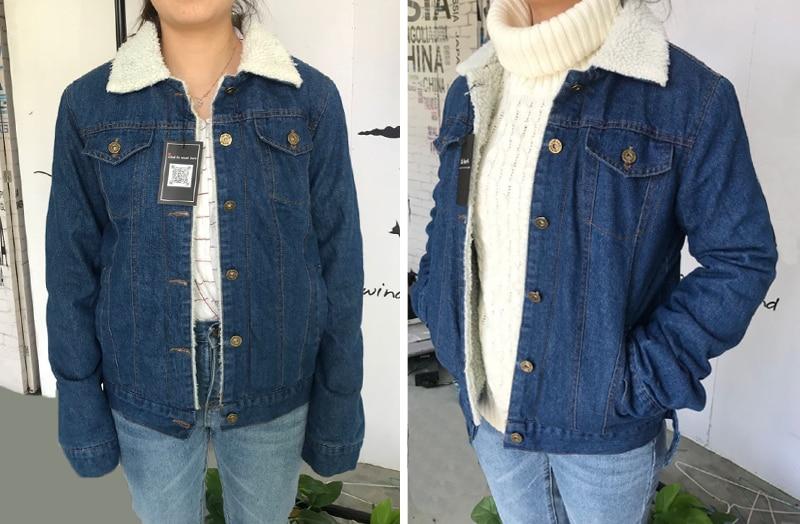 HTB1bLtsKgmTBuNjy1Xbq6yMrVXaA Spring Autumn Winter New 2019 Women lambswool jean Coat With 4 Pockets Long Sleeves Warm Jeans Coat Outwear Wide Denim Jacket