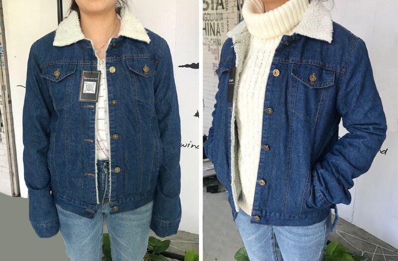 Spring Autumn Winter New 19 Women lambswool jean Coat With 4 Pockets Long Sleeves Warm Jeans Coat Outwear Wide Denim Jacket 2