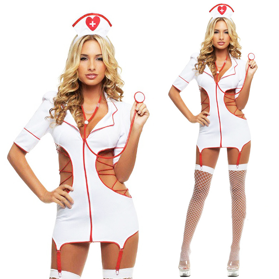 Buy Hot sale sexy hollow nurse costumes Sexy Lingerie hot Charming lace sexy costumes erotic lingerie sexy underwear