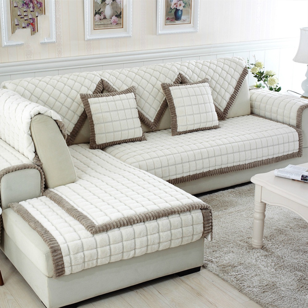 Sofa Or Couch: White Grey Plaid Sofa Cover Plush Long Fur Slipcovers