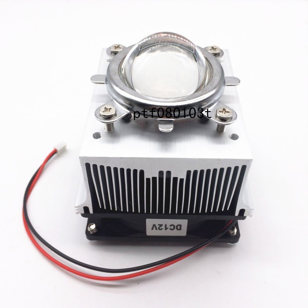 20-100W LED Aluminium Heat Sink Cooling Fan+ Reflector Bracket+44mm Lens 60-80degree