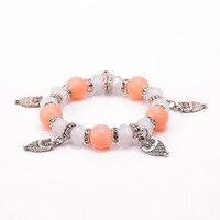 10 Pcs white Crystal bead PINK Nature stone bracelet with owl pendent Jewelry Brand Bracelets Bangle YJK56