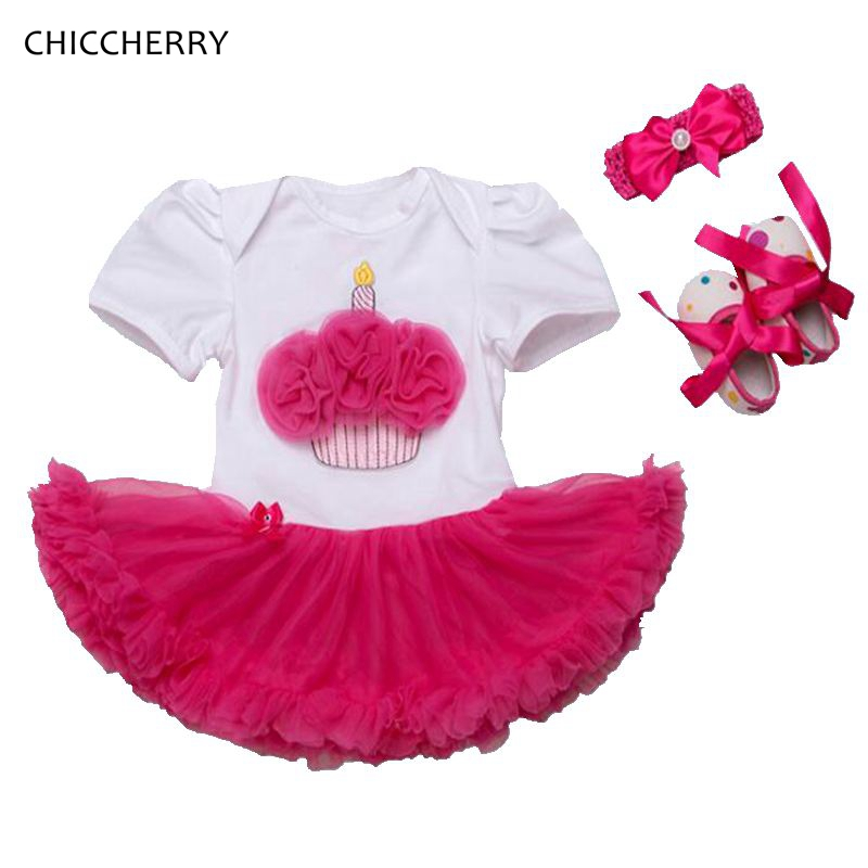 Ruffle Cupcake Toddler Birthday Tutu Outfits for Girls Lace Petti Romper Dress Headband Crib Shoes Baby Girl Summer Clothes Sets