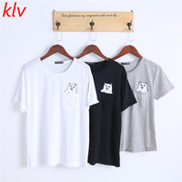 KLV 2017 Fashion O-neck Pocket Cat Print Cotton T-shirt Women Casual Summer Couple Plain Tops Pullover Short Sleeve
