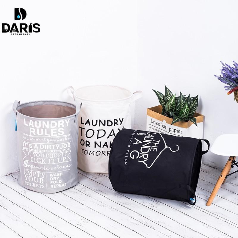 SDARISB Fabric Laundry Basket Bathroom Laundry Hamper Storage Bag Bath Sorter Dirty Toys No Cover Portable Black White Gray