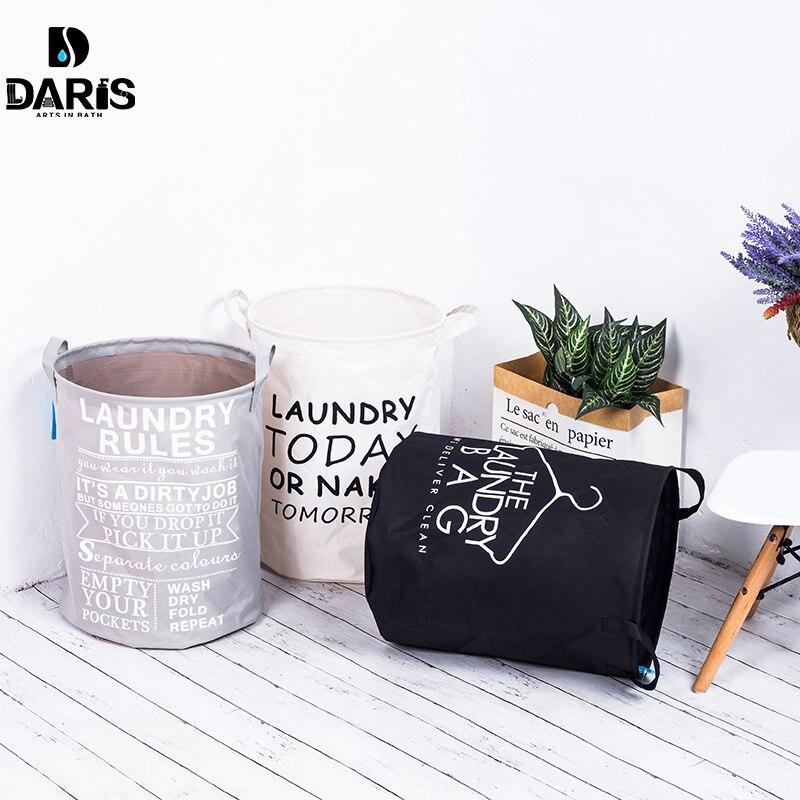 SDARISB Stoff Wäsche Korb Bad Wäsche Korb Lagerung Bag Bad Sorter Schmutzig  Spielzeug Keine Abdeckung Tragbare Schwarz Weiß Grau