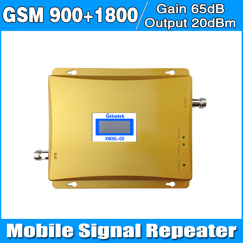 Gain 65dB LCD Display 900 1800 Repeater Dual Band Cell Signal Amplifier GSM 900mhz GSM1800mhz Signal