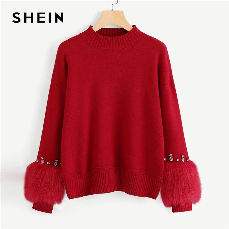 Aliexpress Com Buy Shein Rhinestone Ans Faux Fur: SHEIN Red Highstreet Elegant Faux Fur Cuff Rhinestone