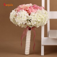 Artificial Handmade Flowers Bride Bouquets Color Mixture Wedding Bouquet Pearls Beaded ramos de rosas artificiales WB21