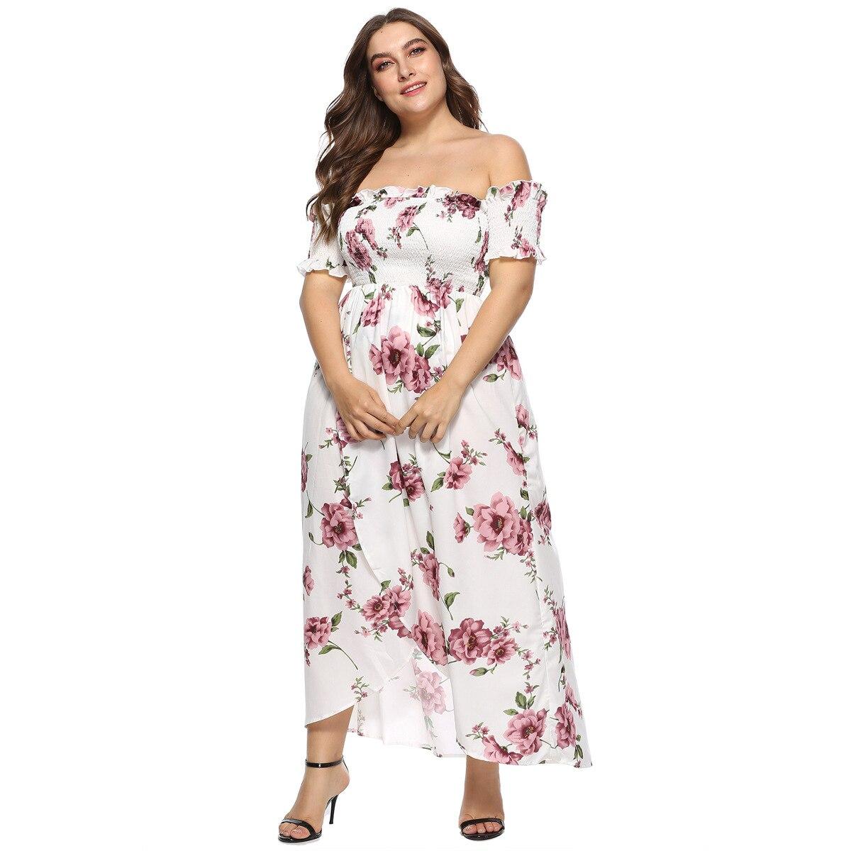 Fashion Bohemian Plus Size 4XL Womens Dress Slash Neck  Short Sleeve Printed Floral White