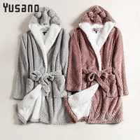 Yusano Bath Robe Women Winter Warm Coral Fleece Women's Bathrobe Nightgown Floral Dressing Gown Sleepwear Female Home Clothes