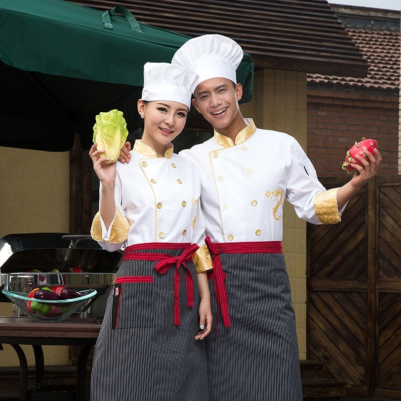 601a2257f561b خريف شتاء طويل الأكمام سترة طاه فندق مطعم مقهى الأصفر التنين الصيني خدمة  ارتداء ملابس موحدة الطبخ 18