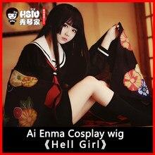 HSIU nuevo alta calidad infierno niña Cosplay peluca AI disfraz ENMA jugar pelucas Anime juego de fiesta de Halloween pelo envío gratis