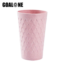 GOALONE Wheat Straw Toothbrush Cup Rhombus Pattern Mouth Cleaning Flavor Water Eco Friendly Mate for Bathroom