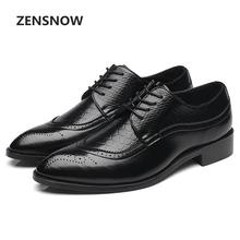 Classic Men's Leather Shoes 2018 Spring And Summer New Business Formal Dress Lace Up Leather Shoes Bullock Carved Pointed Men's