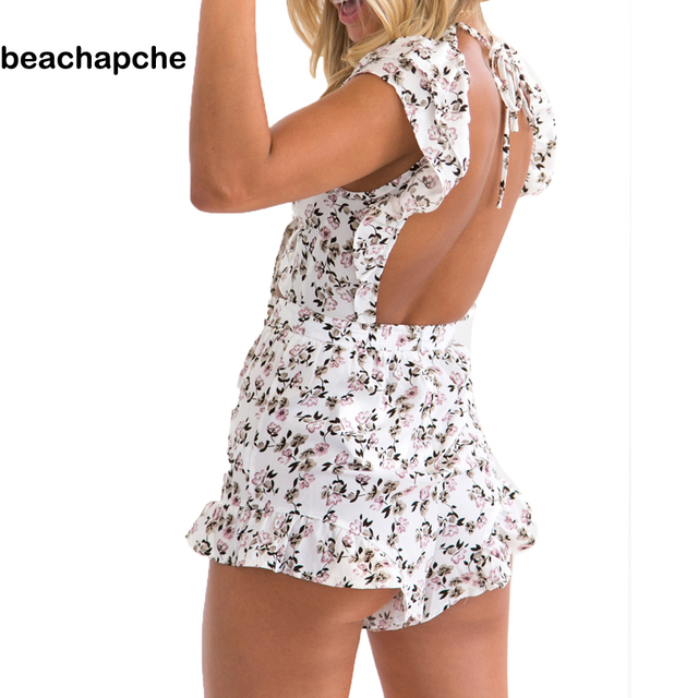 428850a24c2 2017 Womens Bodysuit White Print Flowers Playsuits Summer Ruffles Overalls  Playsuit Sexy Beach rompers women jumpsuits JM070303