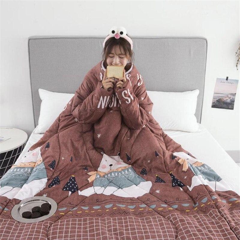 150*200 cm hiver paresseux couette avec manches 2019 nouveau flamant rose imprimé lit couette pour enfants adultes couettes courtepointes chaudes