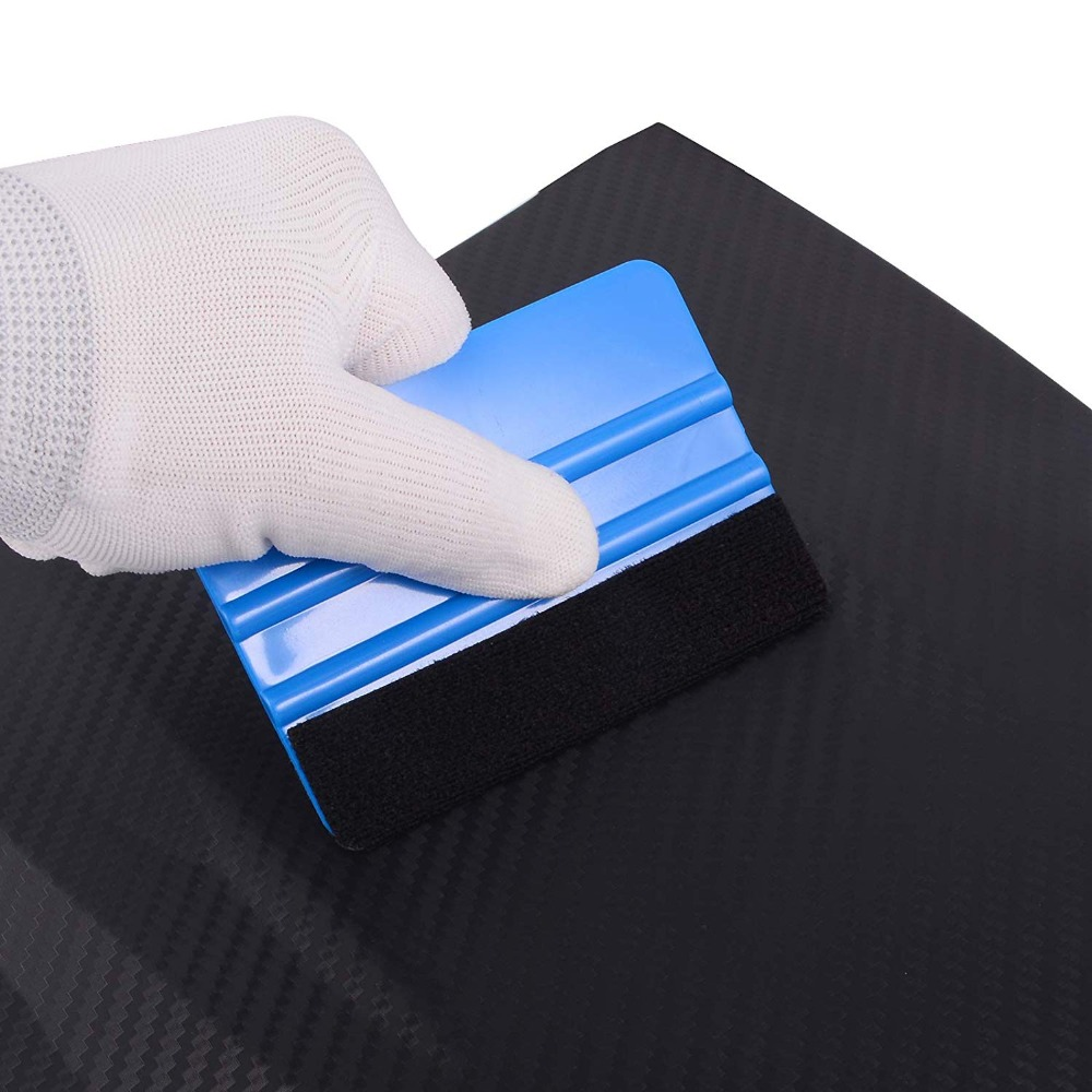 EHDIS Blue Plastic Scraper Vinyl Film Car Wrap Squeegee With Soft Fabric Felt Edge Window Glass Decal Applicator Sticker Tool