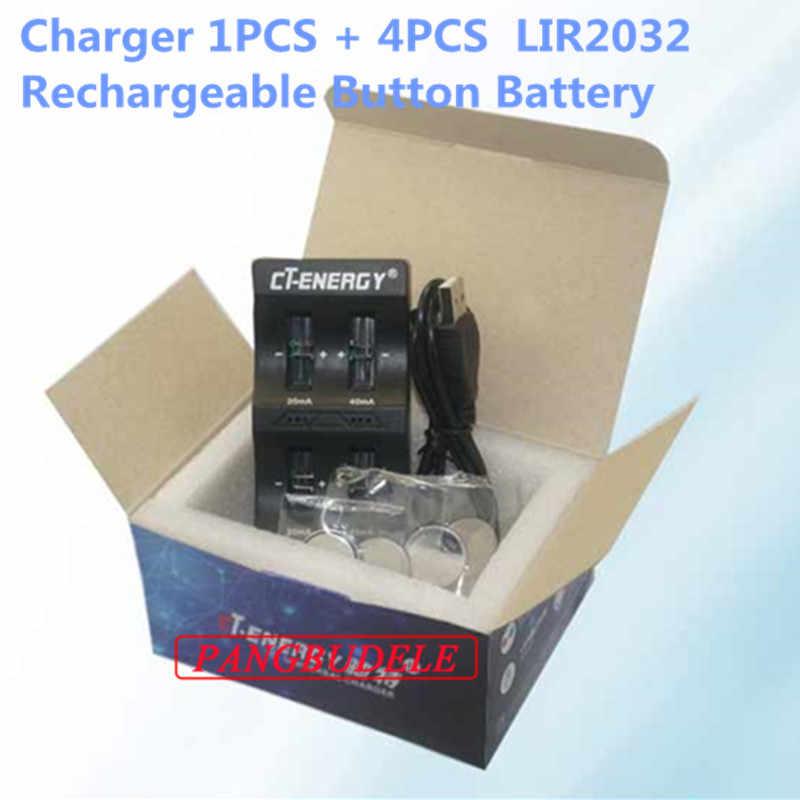 Высокое качество Универсальный usb-интерфейс 4-слотовое зарядное устройство 1 шт. + 4 шт. перезаряжаемая Кнопочная батарея ml2032 Кнопочная батарея