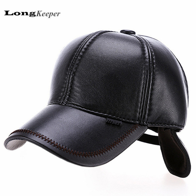 LongKeeper Leather Baseball Cap Men's Winter Hats with Ears 6 Panel Bone casquette polo Gorras OT6
