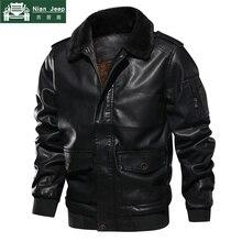 Brand Fur Collar Leather Jacket Men Autumn Winter Mens leather jacket