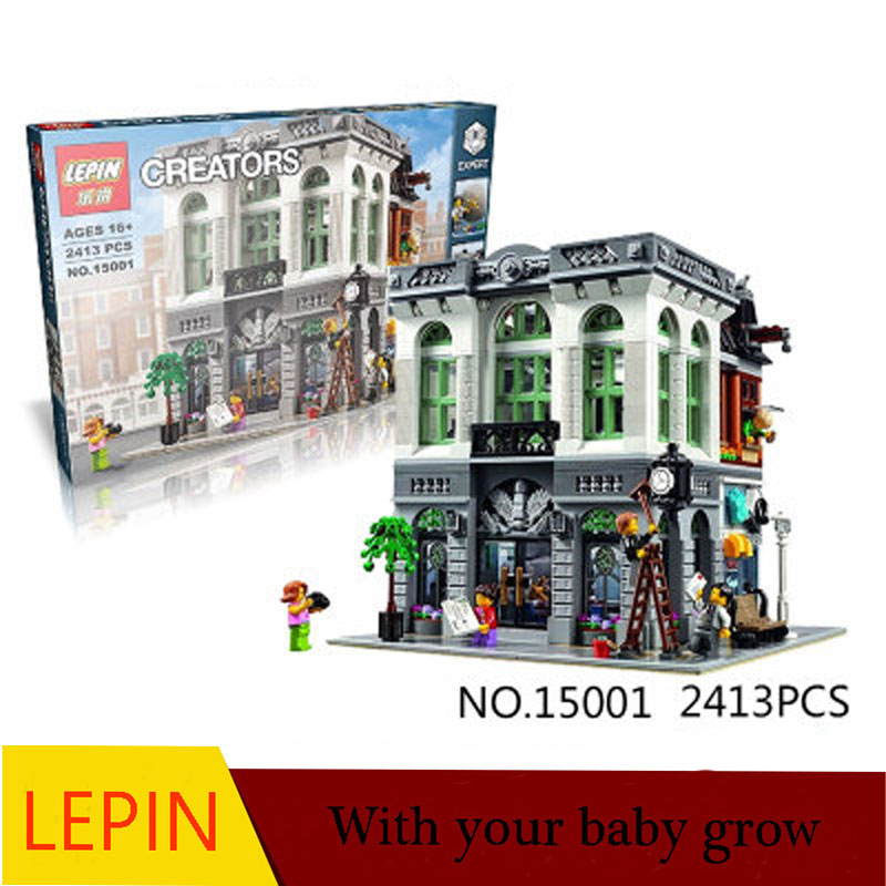 ФОТО DHL LEPIN 15001 2413PCS City Street Brick Bank Model Building Assembling Blocks Bricks Toy Compatible With 10251