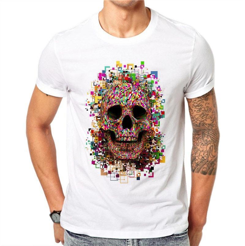 100% Baumwolle Männer T Shirts Harajuku Mode Digitale Bunte Schädel Design Kurze Sl 2019 Mode 100% Baumwolle Slim Fit Top
