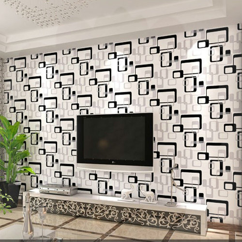 Air Pel Baru Pvc Geometri Kotak Kotak Hitam Putih Wallpaper Sofa Tv