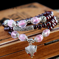 3Win Natural Garnet Bracelet for Gifts Fox Jewelry Rose Quartz Silver Plated Multilayer Women Original Handmade Pulseras Mujer