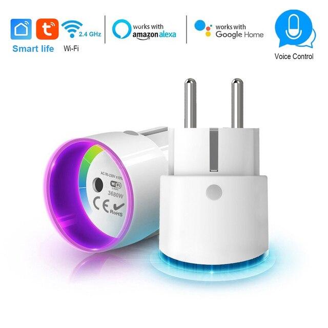 Inteligentna wtyczka WiFi sterowania gniazdo 3680 W 16A moc monitorowanie zużycia energii wyłącznik czasowy ue wylot sterowanie głosem przez Alexa Google home IFTTT