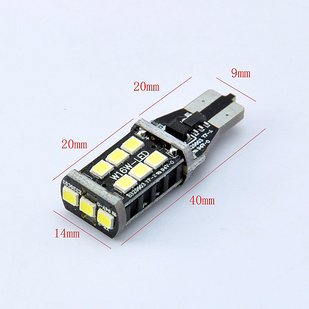 2PC Top Quality Extremely Bright High Power T15 W16W 15SMD LED Reverse Light Tail Lamp DC 12V Brake Parking Light Backup Bulbs