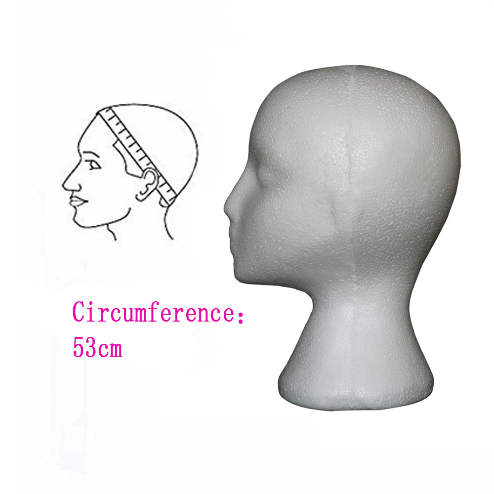 Female Styrofoam Mannequin Manikin Head Model Foam Wig Hair Glasses Display Stand White With 10pcs Tpins