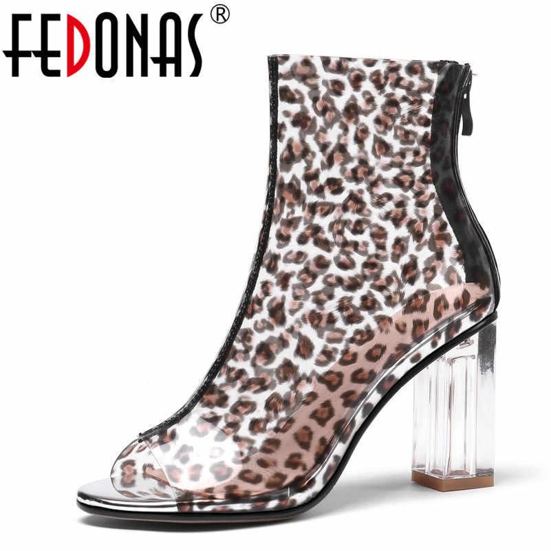 FEDONAS Mode Frauen Sommer Stiefeletten High Heels Sexy Peep Toe Leopard Party Hochzeit Schuhe Frau Damen Grund Stiefel Sandalen