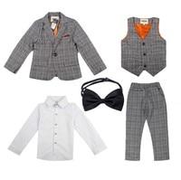 5Pcs Plaid Gentleman Boy Suits Formal For 2 12Y KS 2001