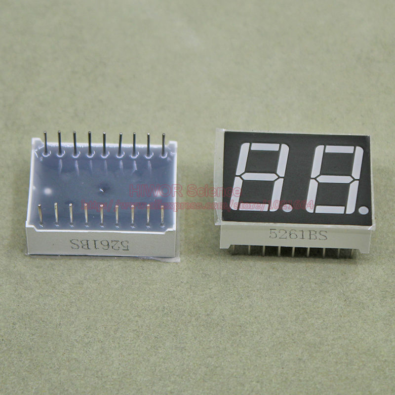 100pcs LED Display 5621BR 5621AR 0.56 Inch 2 Digits 7 Segment Red LED Display 18 Pins Share Common Anode Cathode Digital Display