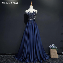 VENSANAC 2018 Vintage Sheer O Neck Crystals Long A Line Evening Dresses Party Lace Embroidery Sash Sweep Train Prom Gowns