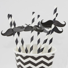25 Pcs Eco-friendly Moustache Straws for Wedding Party Decorations Birthday Holiday
