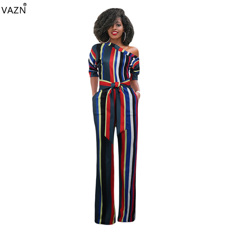 VAZN 2018 hot sale summer 5-colors striped jumpsuits women half sleeve one shoulder jumpsuits ladies hollow out jumpsuits M738