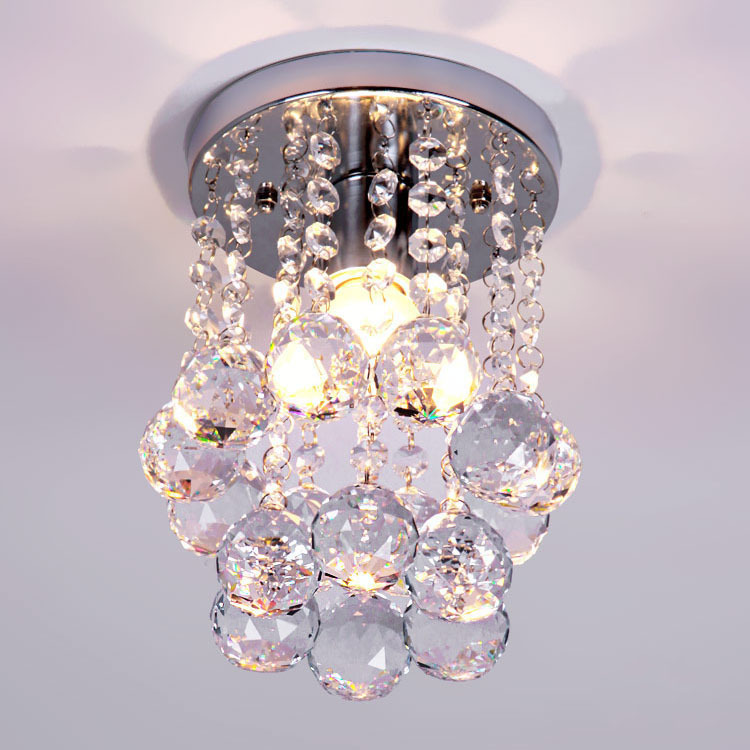 Modern small crystal chandelier lustre light with top k9 crystal modern small crystal chandelier lustre light with top k9 crystal and stainless steel frame home decorative flush mount lighting in chandeliers from lights mozeypictures Images