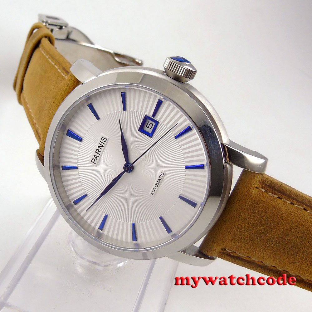 41mm parnis white dial blue marks 21 jewels miyota 8215 automatic mens watch 55441mm parnis white dial blue marks 21 jewels miyota 8215 automatic mens watch 554