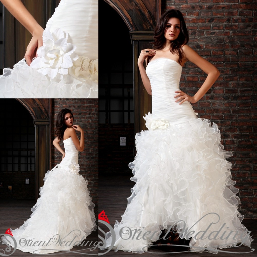 Sparkly Ball Gown Wedding Dresses: Sparkly Organza Country Western Style Custom Made China