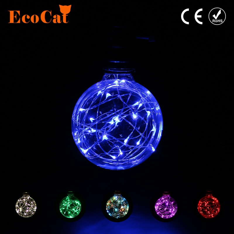 ECO Cat Blue/Red/Green White Fairy G95 LED Edison Bulb Lamp E27 220V RGB String Light Filament Vintage Retro For Holiday Party