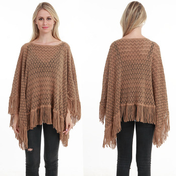 New Autumn Fashion Woman Poncho Hollow Tassel Loose Sweater For Women Pullover plus size Thin Sweater Loose Shawl 10