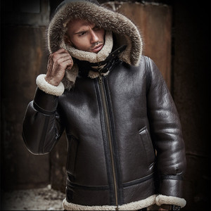 Image 3 - men genuine leather jacket man real original ecological sheepskin coat raccoon fur detachable hood winter jackets short design