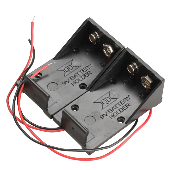 2pcs Single Slots 1x 9V Battery Clip Holder Case Box With Wire Leads D