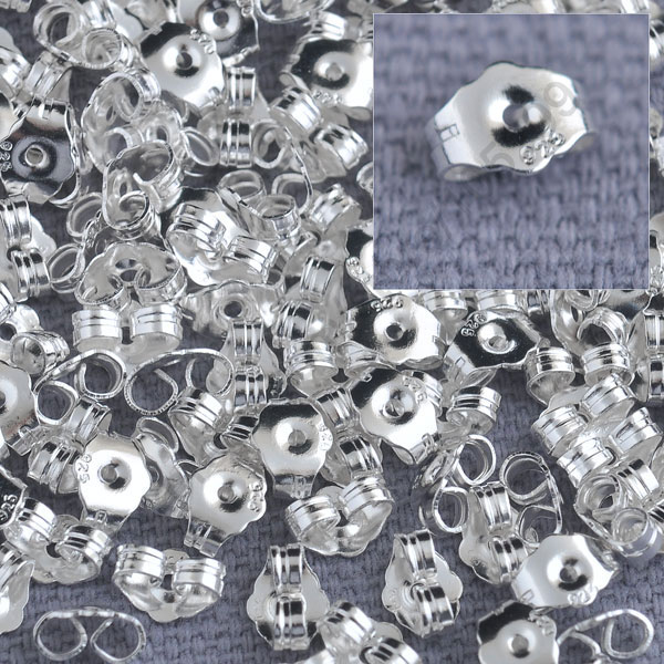 Bulk 1000PCS Genuine Fine 925 Silver Jewelry Findings Back Stopper For Stud Pin Jewelry Settings 925 Silver Stamped LOGO