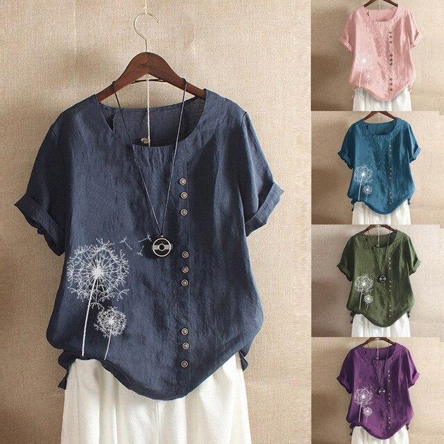 2020 bayan Casual gevşek düğme keten gömlek artı boyutu çok tarzı yeni Trend baskı Boho Tanic gömlek artı boyutu bluz tops # BL2