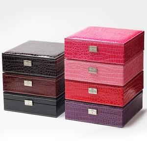 Image 3 - Guanya Brand Leather Storage Boxes Square Shape Wood Jewelry Box Wedding Gift Makeup Storage Bin Earrings Ring Organizer
