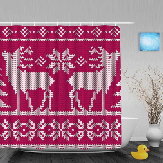 Seamless Knit Christmas Decor Bathroom Shower Curtains Cute Deer Snowflake Curtain Waterproof Polyester Fabric With Hooks